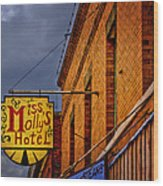 Miss Molly's Hotel Wood Print