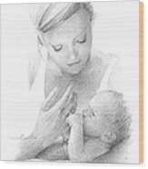 Mom And Baby Pencil Portrait Wood Print