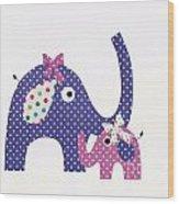 Momma And Baby Elephants Wood Print