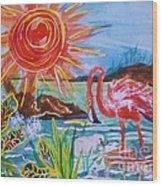 Momma And Baby Flamingo Chillin In A Blue Lagoon  Wood Print