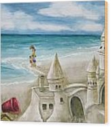 Mommy And Me Sandcastles Wood Print