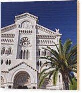 Monaco Cathedral Wood Print