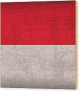 Monaco Flag Vintage Distressed Finish Wood Print