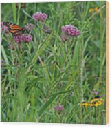 Monarch In The Wildflowers Wood Print