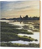 Monet Style Digital Painting Beautiful Summer Sunset Landscape Over Low Tide Harbor With Moor Wood Print