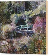 Monet's Bridge In Autumn Wood Print
