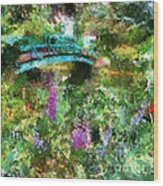 Monet's Bridge In Spring Wood Print
