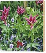 Monets Garden Wood Print
