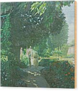 Monets Garden Oil On Board Wood Print