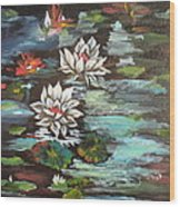 Monet's Pond With Lotus 1 Wood Print