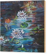 Monet's Pond With Lotus 11 Wood Print