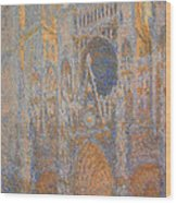 Monet's Rouen Cathedral -- West Facade Wood Print
