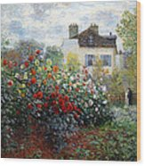 Monet's The Artist's Garden In Argenteuil  -- A Corner Of The Garden With Dahlias Wood Print