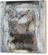 Money Frozen In A Jar Wood Print by Skip Nall