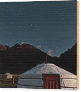 Mongolia By Starlight Wood Print