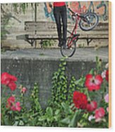 Monika Hinz Doing Elegant Bmx Flatland Trick Wood Print