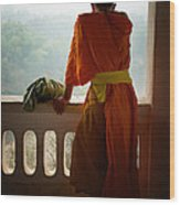 Monk In Luang Prabang Wood Print