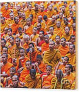 Monk Mass Alms Giving Wood Print by Fototrav Print