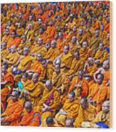 Monk Mass Alms Giving In Bangkok Wood Print