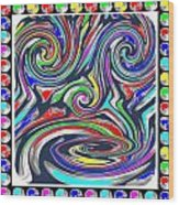 Monkey Dance Created Out Of Beads Of The Border Creative Digital Graphic Work Cartoon Comedy Backgro Wood Print
