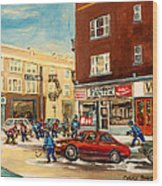 Monkland Street Hockey Game Montreal Urban Scene Wood Print by Carole Spandau
