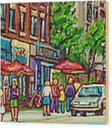 Monkland Tavern Corner Old Orchard Montreal Street Scene Painting Wood Print