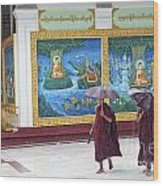 Monks In Rain At Shwedagon Paya Temple Yangon Myanmar Wood Print