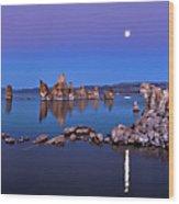 Mono Lake Moon Rise Wood Print