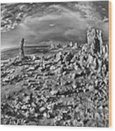 Mono Lake Tufa Rocky Beach Black And White Wood Print
