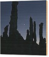 Mono Lake Tufas Silhouette Wood Print