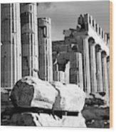 Mono Piles Of Stones Before Ruined Wood Print