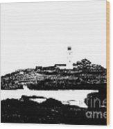 Monochromatic Godrevy Island And Lighthouse Wood Print
