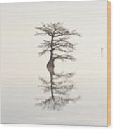 Monochromatic Morning On Lake Mattamuskeet  Two Wood Print