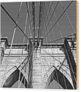 Monochromatic View Of Brooklyn Bridge Wood Print