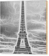 Monochrome Eiffel Tower Fractal Wood Print