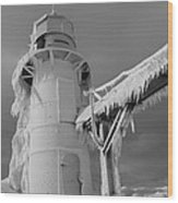 Monochrome Frozen Lighthouse Grand Haven Michigan Wood Print