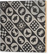 Monochrome Mosaic Wood Print