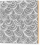 Monochrome Scallop Scales Wood Print