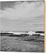 Monochrome Tides Wood Print