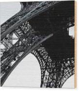 monocrome leg of Eiffel tower Wood Print