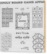 Monopoly Board Game Patent Art  1935 Wood Print by Daniel Hagerman