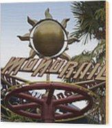 Monorail Signage Disneyland Wood Print