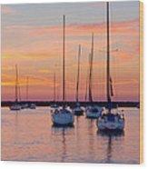 Monroe Harbor Sunrise Wood Print