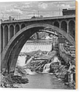 Monroe St Bridge Of Spokane Wood Print