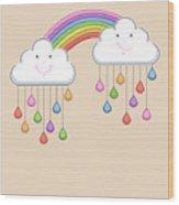 Monsoon Season Background With Happy Wood Print