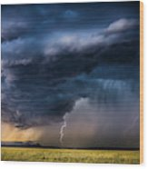 Monsoon Storm With A Multiple Lightning Wood Print
