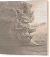 Monster Cloud Sepia Country Wood Print
