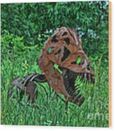Monster In The Grass Wood Print