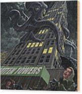 Monster Octopus Attacking Building In Storm Wood Print