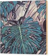 Monstera Blues Wood Print